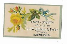 Old Trade Card IW Hartman & Sons Stores BLOOMSBURG PA Yellow Rose