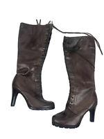 Lauren Ralph Lauren Womens Brown Leather Lace Up Knee-High Boots Heels Size 9 M