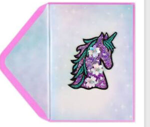 PAPYRUS DAZZLING GLASS BEADS UNICORN STICK ON PATCH BIRTHDAY CARD SEQUINS BEADS