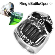 Size 7-16 Stainless Steel Skull Motorcycle Biker Ring, Use as Bottle Opener