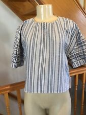 PROSE & POETRY SAKS FIFTH AVENUE  BLUE  STRIPED PENELOPE BACK-TIE TOP SIZE S-M
