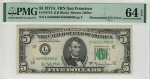 1977 A $5 FEDERAL RESERVE NOTE MISMATCHED SERIAL NUMBER ERROR PMG CH UNC 64 EPQ