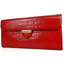 Authentic YVES SAINT LAURENT Long wallet purse Embossed leather[Used]