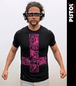 Pistol Boutique Homme Noir Standard Moulant Col Rond Croquis Roses Croix T-Shirt