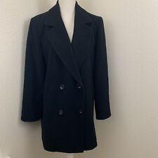 Kristen Blake Women's Size 6 Black Coat Wool Blend Pea Coat Jacket Lined Button