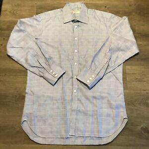 TURNBULL & ASSER Blue White Check Dress Shirt 16.5 / 42cm