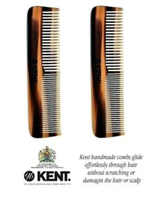2 X Mens Small Kent OT Handmade 113mm Coarse Fine Toothed Styling Pocket Comb