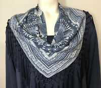 Style & Co Woman New Plus Size 3X Romantic Charm Blue Knit Sweater Fringe Scarf