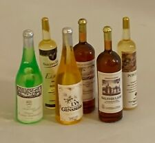 Dolls House Miniature 1/12th Scale Set of 6 Assorted Wine Bottles SK157