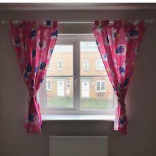 Par de cortinas de impresión de oso de rosa niñas/babys/Guardería/Dormitorio + Tiebacks 62x54''