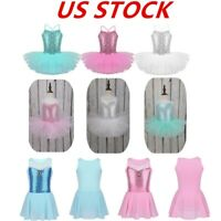 US Girls Sequin Ballet Tutu Dress Kids Dance Leotard Ballerina Dancewear Costume