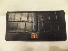 Cole Haan Women's Leather Slim Wallet - Black Croc Print - Thompson St - NWT