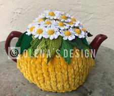Handmade Crochet tea cozy yellow tea cover daisy tea cosy tea warmer