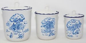 VTG Disney Winnie the Pooh Blue Toile Stoneware Kitchen Canister Set of 3 + Lids