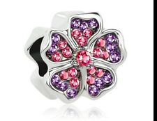 Charm Flower Bead Charm Pink Crystal Bouquet  Mother's day Charm Bracelet 134