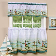 Nautical Lighthouses Pattern Print 3 Piece Window Valance and Tier Sets - NEW