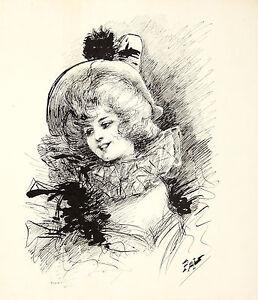 Original Vintage Imprimé Pal Style Art Nouveau Portrait 1890 Showgirl France