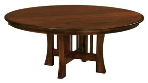 "Amish Round Dining Table Arts Crafts Mission Base Solid Wood Leaf 54"", 60"", 72"""