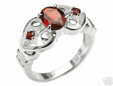 1.60ctw Genuine GARNET Oval & Rounds Ring NEW .925 Sterling Silver Size 7.5