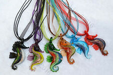 FREE Wholesale 6ps Animal Seahorse Lampwork Glass Pendants Silk Necklace Jewelry
