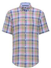 FYNCH HATTON® Linen Check Short Sleeve Shirt - Large SALE WAS £69.99