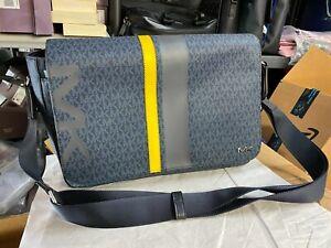 Michael Kors Jet Set Signature Logo Cooper Laptop Messenger Bag Admiral Blue 448