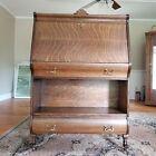 "Antique Hale Tiger Oak ""Herkimer"" Desk Secretary Open Bookcase - Lions Paws"