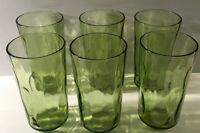 "Lot Of 6 Vintage New Green Optic Dot Glasses 5 3/4"" Tall 3"" Diameter"