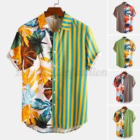Mens Short Sleeve Floral Patchwork Shirts Casual Loose Hawaiian Beach Aloha Tops