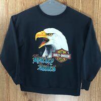 Vintage 1991 Harley Davidson HARLEY RULES Bald Eagle Sweatshirt Large
