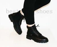LADIES WOMENS ARMY COMBAT FLAT GRIP SOLE DIAMANTEE WINTER ANKLE BOOTS SHOES SIZE