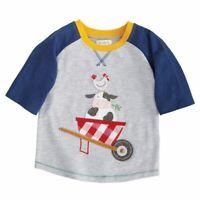 NWT Mud Pie Farmhouse Farm Friends Cow Rooster Boys Short Sleeve Raglan Shirt