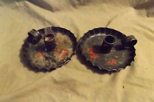 Pair Painted Tin Vintage Candle Holder Chambersticks Toleware Loss to Tole Paint