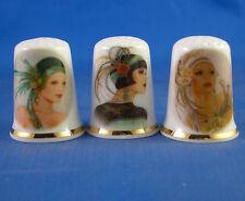 Birchcroft Thimbles -- Set of Three -- Art Deco Ladies