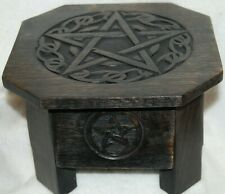 Altar Table Pentagram With Drawer, Hand Made & Stained, Wicca, Witch, Pagan