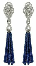 Blue Bead Dangle Handmade Beautiful 925 Pure Sterling Silver Design Knot Earring