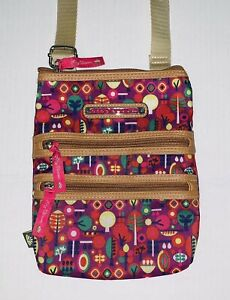 Lily Bloom Pink Purple Tree Print Crossbody Bag Small Messenger Purse EUC