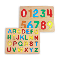 Wooden ABC and Numbers Puzzle Toy for Toddlers 2 Piece Set for Kids Alphabet