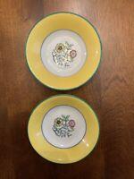 Vintage Belleek Coxon berry bowls yellow floral set of 2