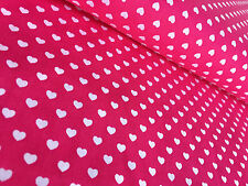SMALL HEARTS 100% Cotton Poplin Fabric Material heart print red pink-140cm wide