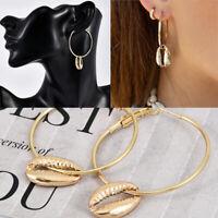 Frauen Boho Kreis Shell baumeln Legierung Ohrringe mehrschichtige Muschelkette.