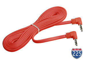 3.5mm FLAT Male to Male RED Aux Cable Cord Car Audio PC Headphone Jack