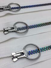 1 YKK Plastic Molded Hologram Zipper with O-Ring Pull Closed Bottom