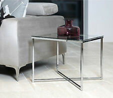 Lamp Side Table Glass Top Coffee End Sofa Table Chrome Modern Furniture Unit NEW