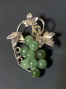 Vintage Sterling Silver Brooch with Jade Grapes Fine Jewelry