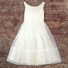 Vintage 50s 60s Cream Sheer Chiffon Dress Gown with Bow Sz S