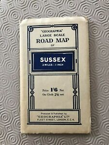 """Vintage Geographia Large Scale Road Map - SUSSEX - 3 miles to 1"""""""