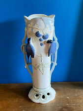 GERMAN MAJOLICA BARBOTINE VASE ART  NOUVEAU 1900s BIRDs Numbered