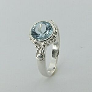 Size 8 - Round BLUE TOPAZ Ring - 925 STERLING SILVER #97