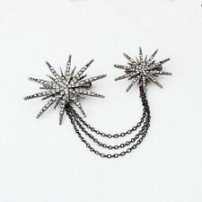 Strass Broche zwei Sterne schwarz brooch civetta star Weihnachten Christmas